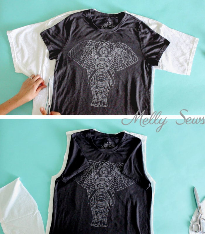 Step 1 - How to make a big shirt smaller - take a too large t-shirt and cut it down to size - Photo and video tutorial by Melly Sews