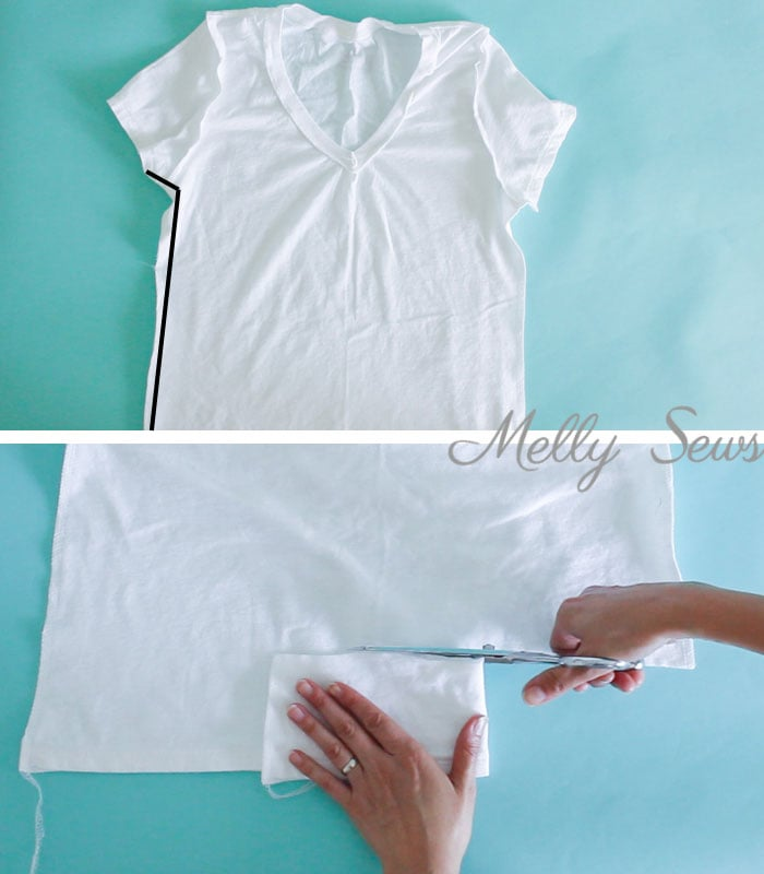 Step 3 - How to make a big shirt smaller - take a too large t-shirt and cut it down to size - Photo and video tutorial by Melly Sews