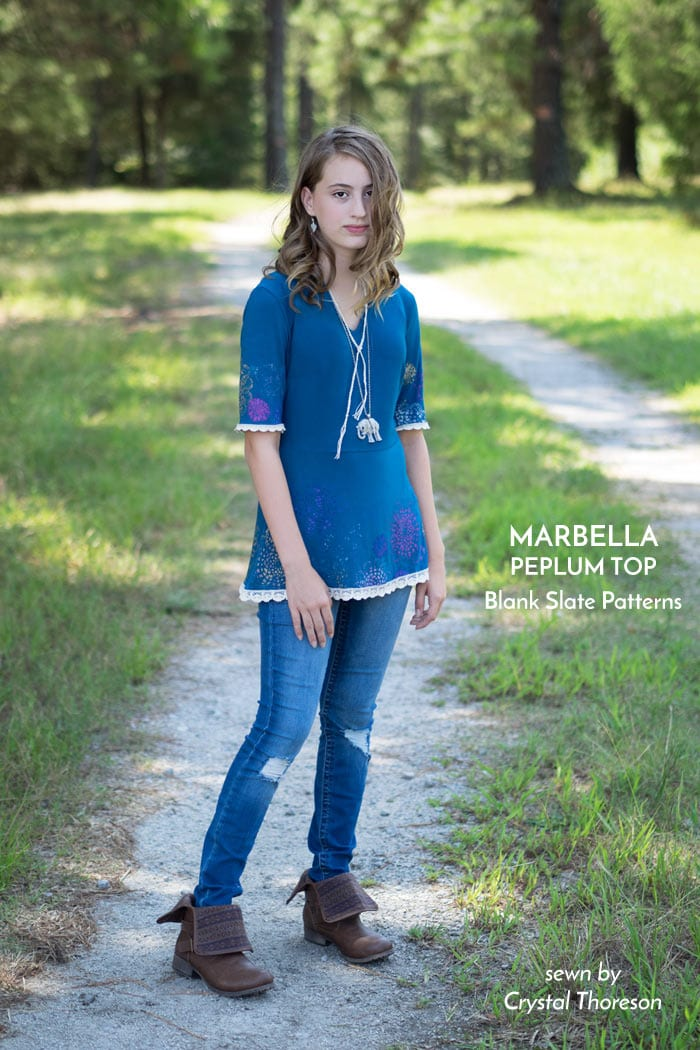 Marbella Dress and Peplum Top sewing pattern from Blank Slate Patterns sewn by Crystal Thoreson