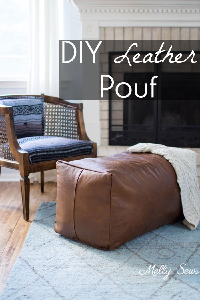 leather pouf ottoman melly sews. Black Bedroom Furniture Sets. Home Design Ideas