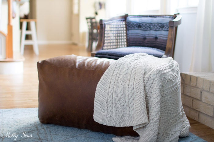 DIY Leather Pouf Tutorial - make a leather ottoman with this sewing tutorial from Melly Sews