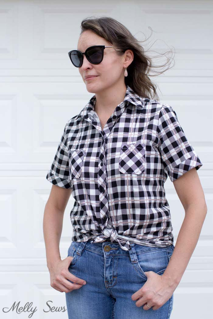 Tie front plaid shirt - Novelista Shirt by Blank Slate Patterns sewn in Yes, Please rose gold plaid by Riley Blake - sewn by Melly Sews