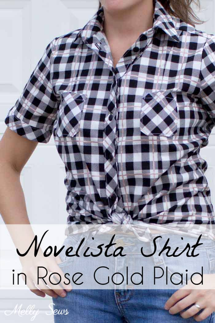 Novelista Shirt by Blank Slate Patterns sewn in Yes, Please rose gold plaid by Riley Blake - sewn by Melly Sews
