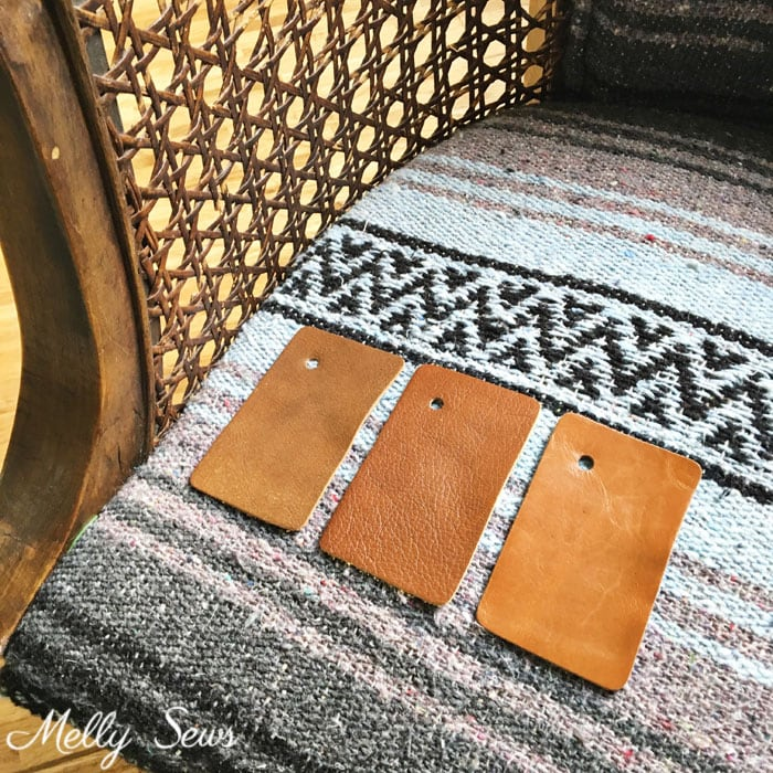 Leather samples from Leather Hide Store