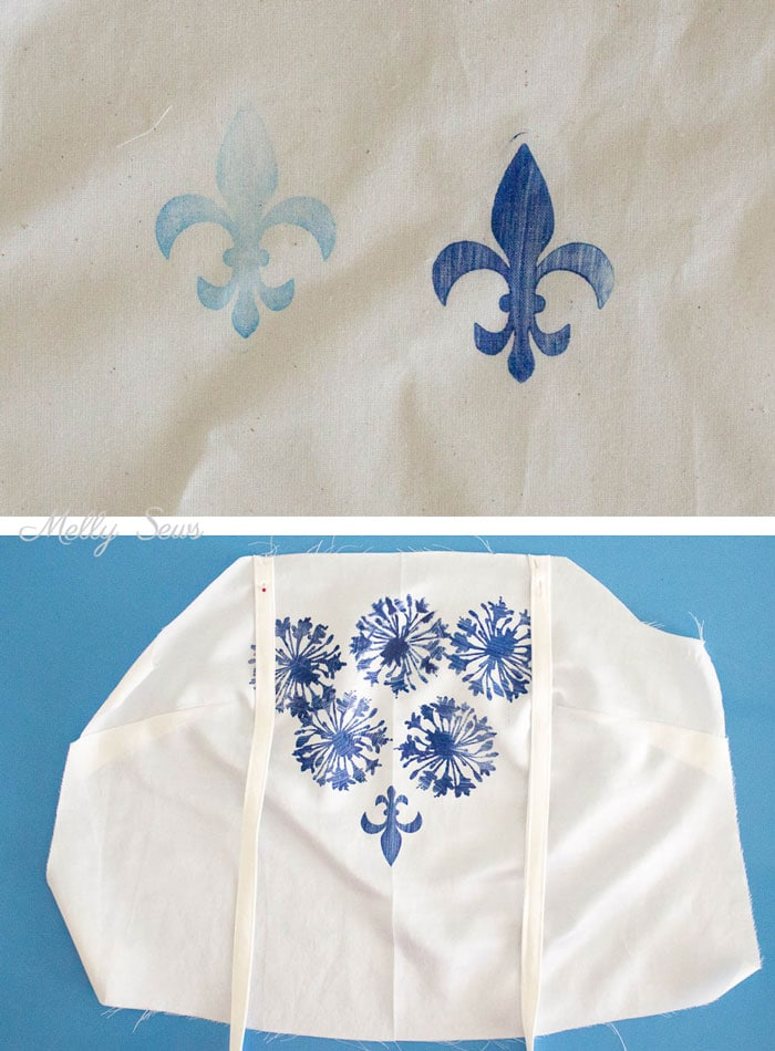 Stamped Bodice - How to Stamp Fabric - How to Make Custom Print Fabric - Melly Sews