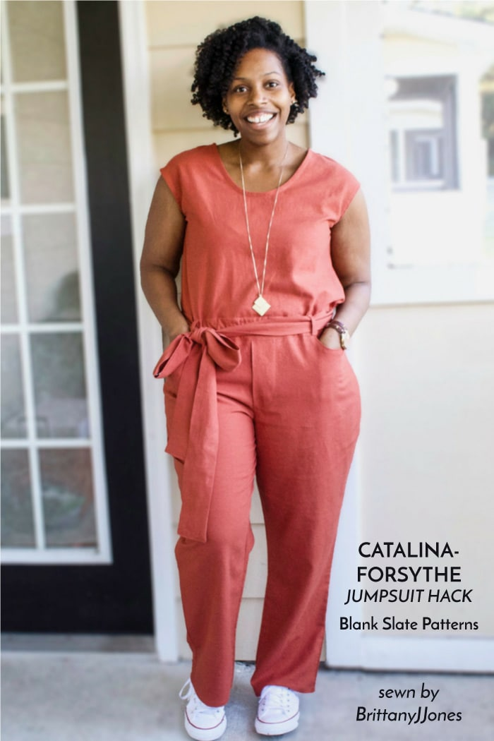 Catalina Dress and Forsythe Trousers sewing patterns from Blank Slate Patterns - hacked into a jumpsuit! - sewn by BrittanyJJones