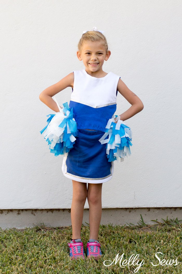 Cheerleader Costume - DIY Football Costumes - How to Make a Football Player Costume, How to Make a Cheerleader Costume, How to Make a Dance Squad Costume - Melly Sews Group Halloween Costume