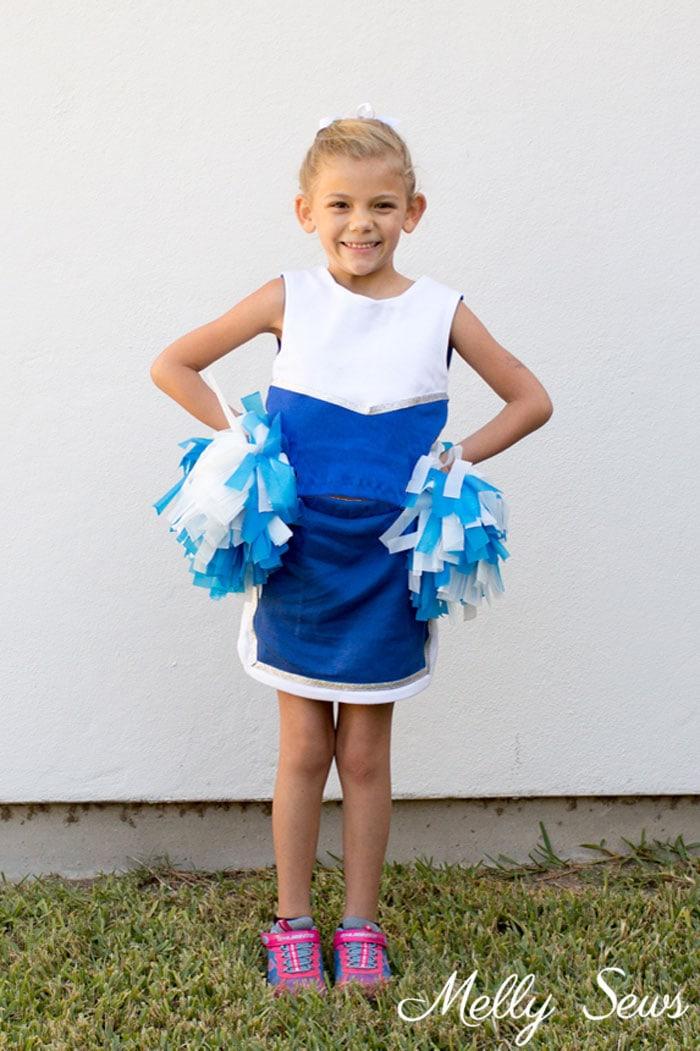 Cheerleader Costume - DIY Football Costumes - How to Make a Football Player Costume, How to Make a Cheerleader Costume, How to Make a Dance Squad Costume - Melly Sews Group Halloween Costume