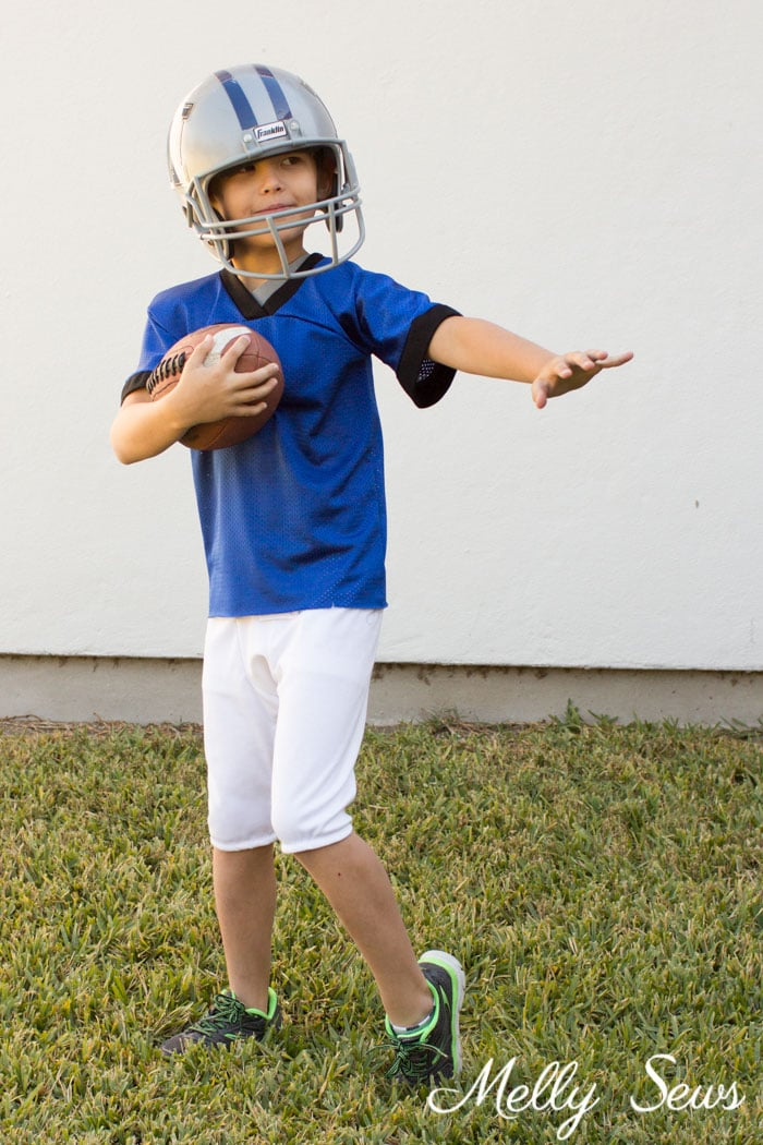 Football Player Costume - DIY Football Costumes - How to Make a Football Player Costume, How to Make a Cheerleader Costume, How to Make a Dance Squad Costume - Melly Sews Group Halloween Costume