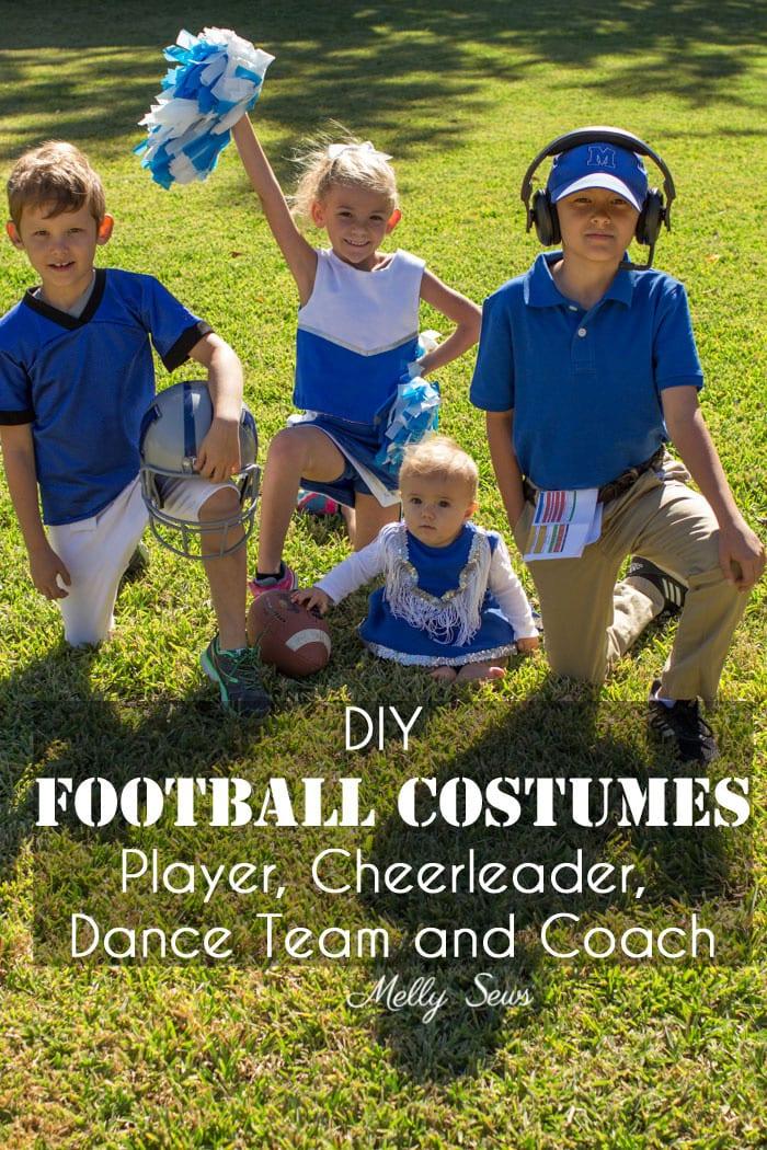 DIY Football Costumes - How to Make a Football Player Costume, How to Make a Cheerleader Costume, How to Make a Dance Squad Costume - Melly Sews Group Halloween Costume