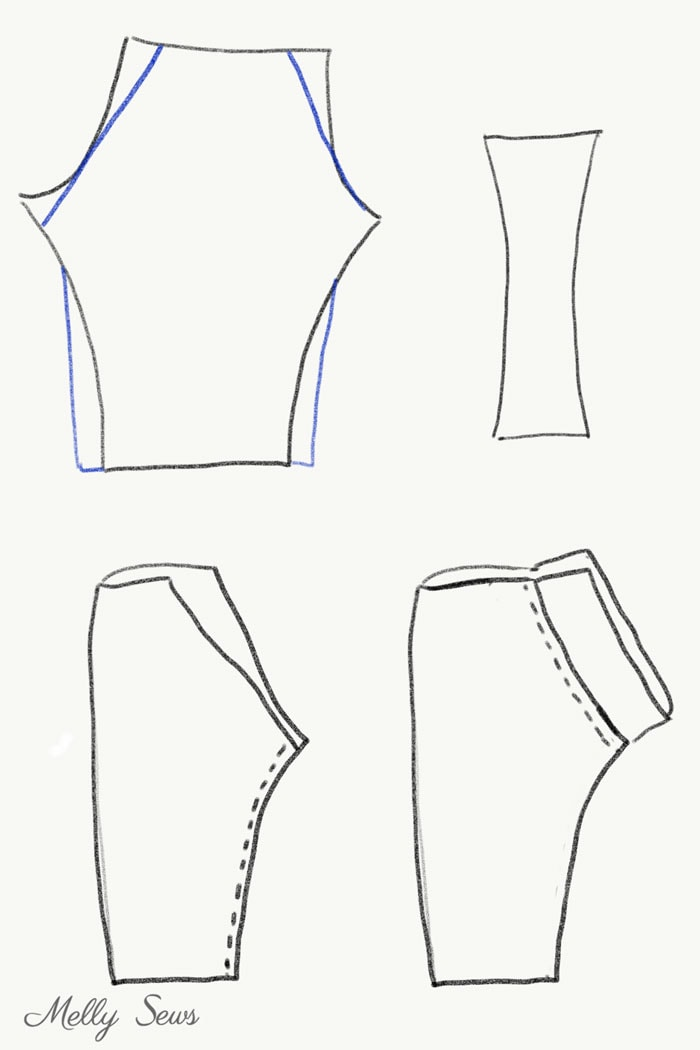 Add a full gusset to leggings - DIY Football Costumes - How to Make a Football Player Costume, How to Make a Cheerleader Costume, How to Make a Dance Squad Costume - Melly Sews Group Halloween Costume