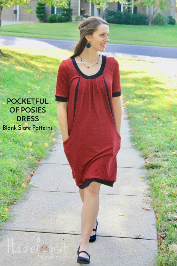 Pocketful of Posies dress sewing pattern by Blank Slate Patterns sewn by Hazelnut Handmade