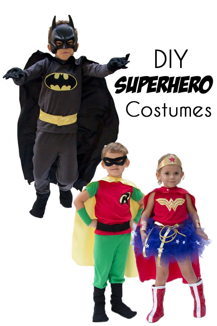 DIY Superhero costumes! Make a Batman costume, a Robin costume and a Wonder Woman costume for kids - Melly Sews