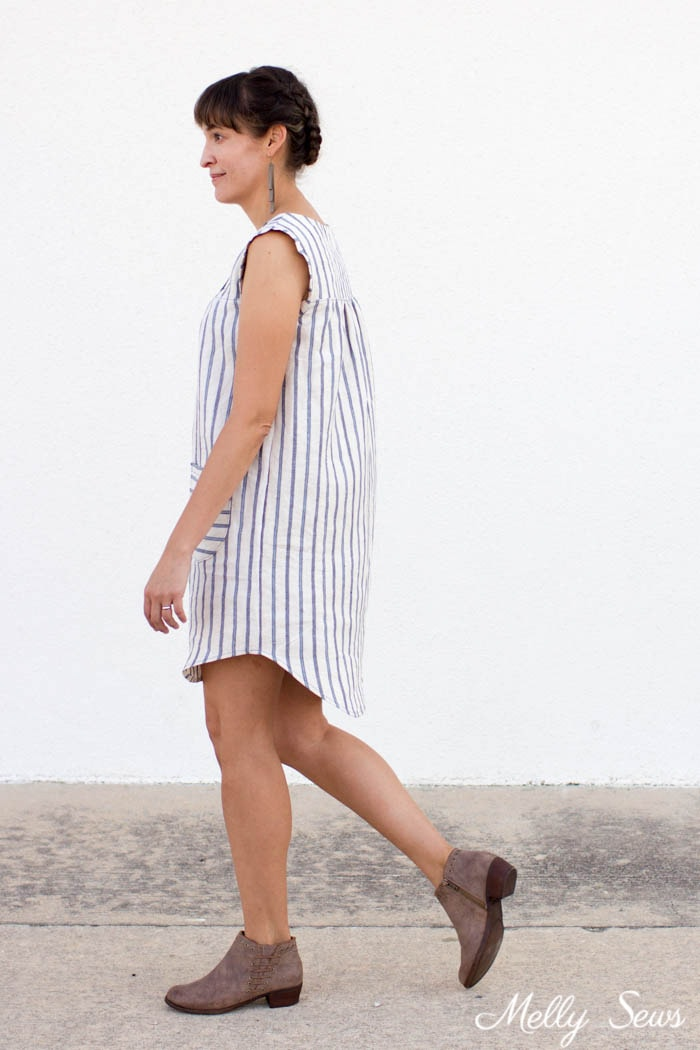 Striped dress - linen dress from the Valetta pattern by Blank Slate Patterns sewn by Melly Sews