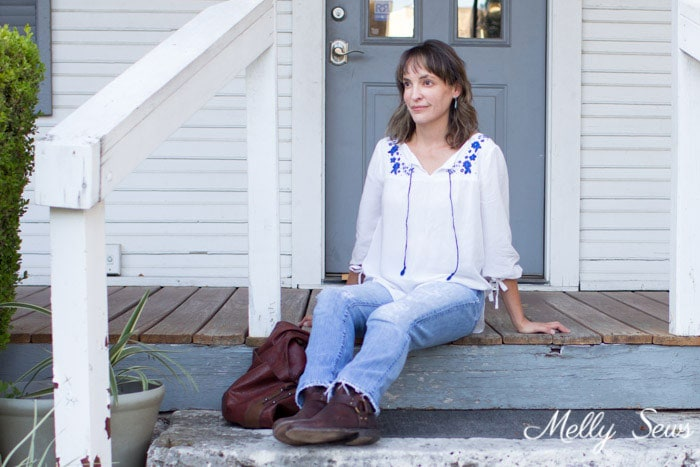 Boho Casual - Embroidered Peasant Top - Valetta Pattern by Blank Slate Patterns sewn by Melly Sews - DIY Fashion