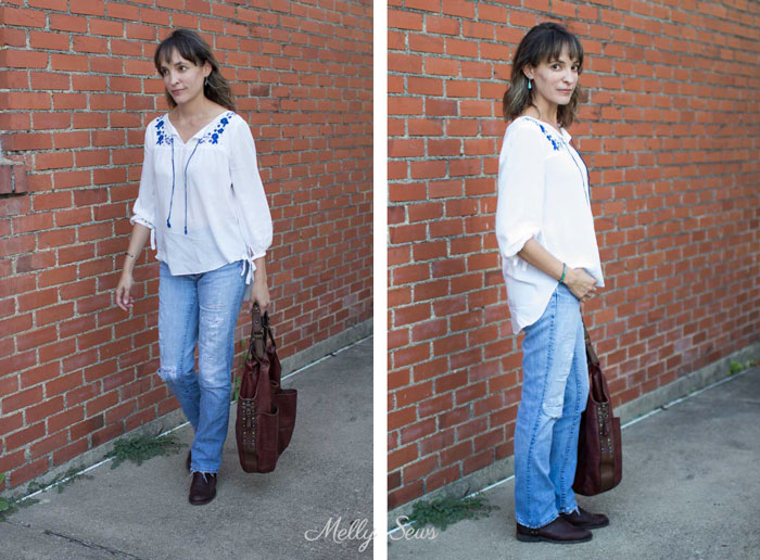Weekend Outfit - Embroidered Peasant Top - Valetta Pattern by Blank Slate Patterns sewn by Melly Sews - DIY Fashion
