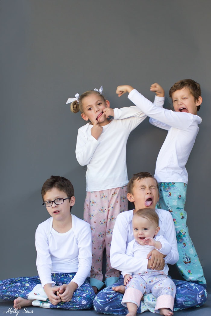 Real kids taking photos - Snuggle Pajamas Sewing Pattern by Blank Slate Patterns for Babies, Boys and Girls