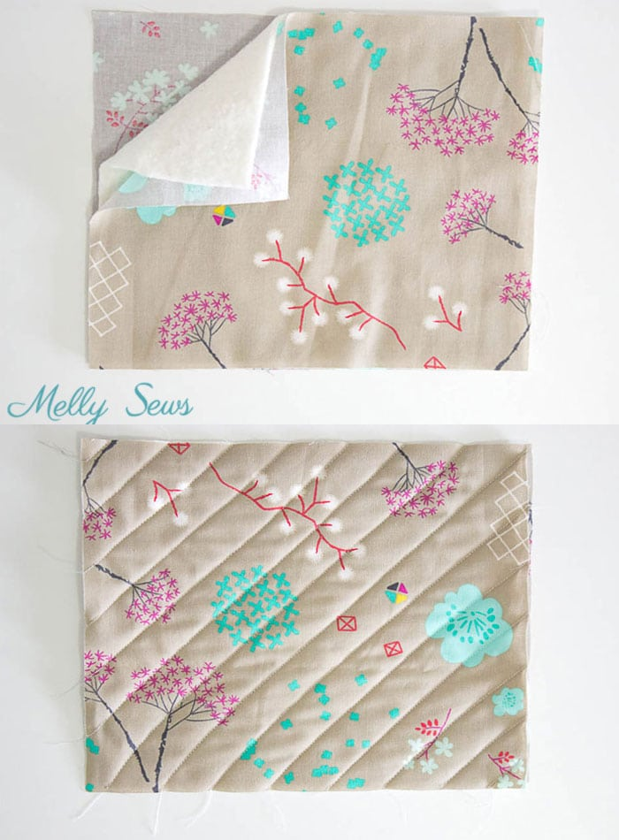 Step 1 - Sew a pot holder - quilt as you go - great scrapbuster - easy to make gift - DIY tutorial by Melly Sews
