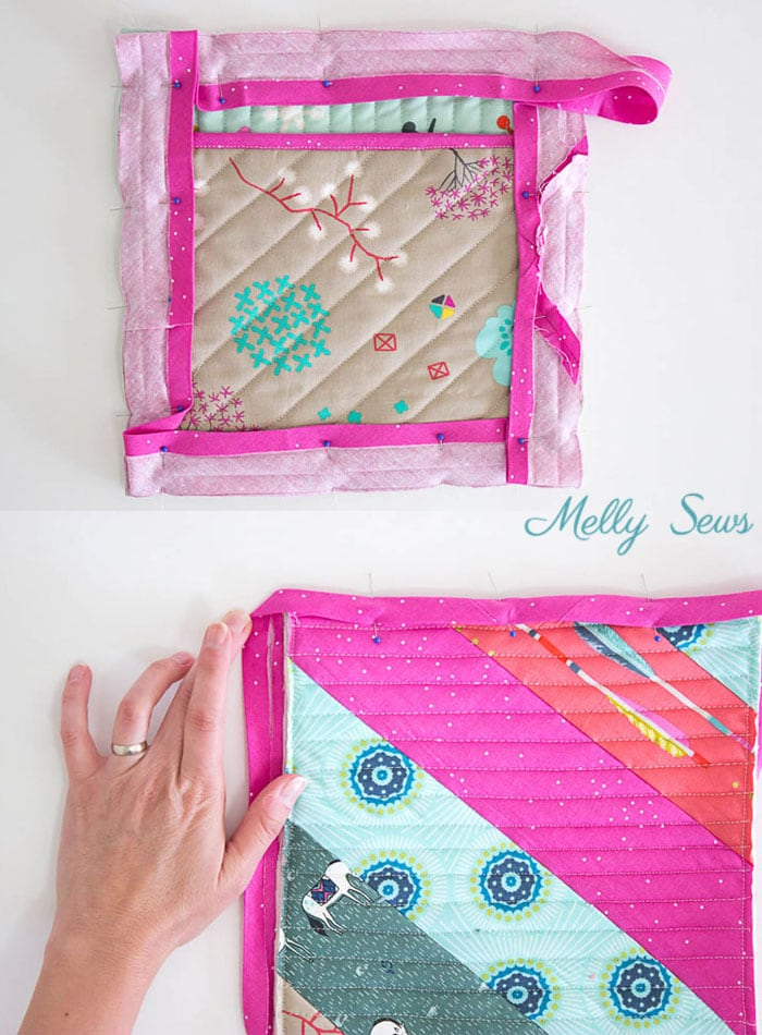 Step 8 - Sew a pot holder - quilt as you go - great scrapbuster - easy to make gift - DIY tutorial by Melly Sews