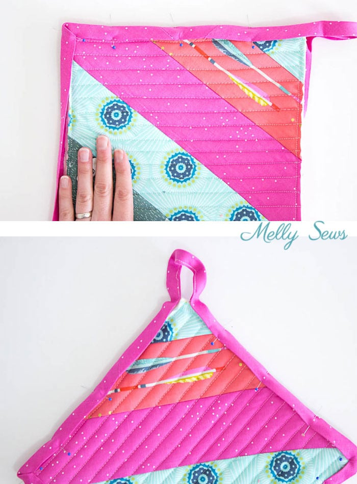 Step 9 - Sew a pot holder - quilt as you go - great scrapbuster - easy to make gift - DIY tutorial by Melly Sews