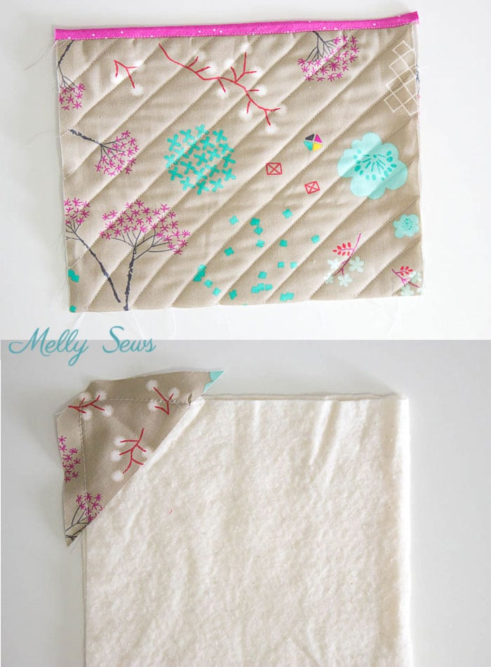 Step 2- Sew a pot holder - quilt as you go - great scrapbuster - easy to make gift - DIY tutorial by Melly Sews