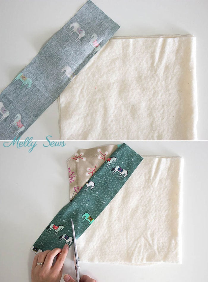 Step 3 - Sew a pot holder - quilt as you go - great scrapbuster - easy to make gift - DIY tutorial by Melly Sews