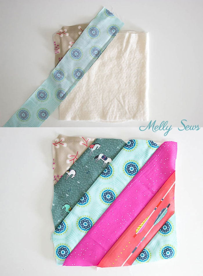 Step 4 - Sew a pot holder - quilt as you go - great scrapbuster - easy to make gift - DIY tutorial by Melly Sews