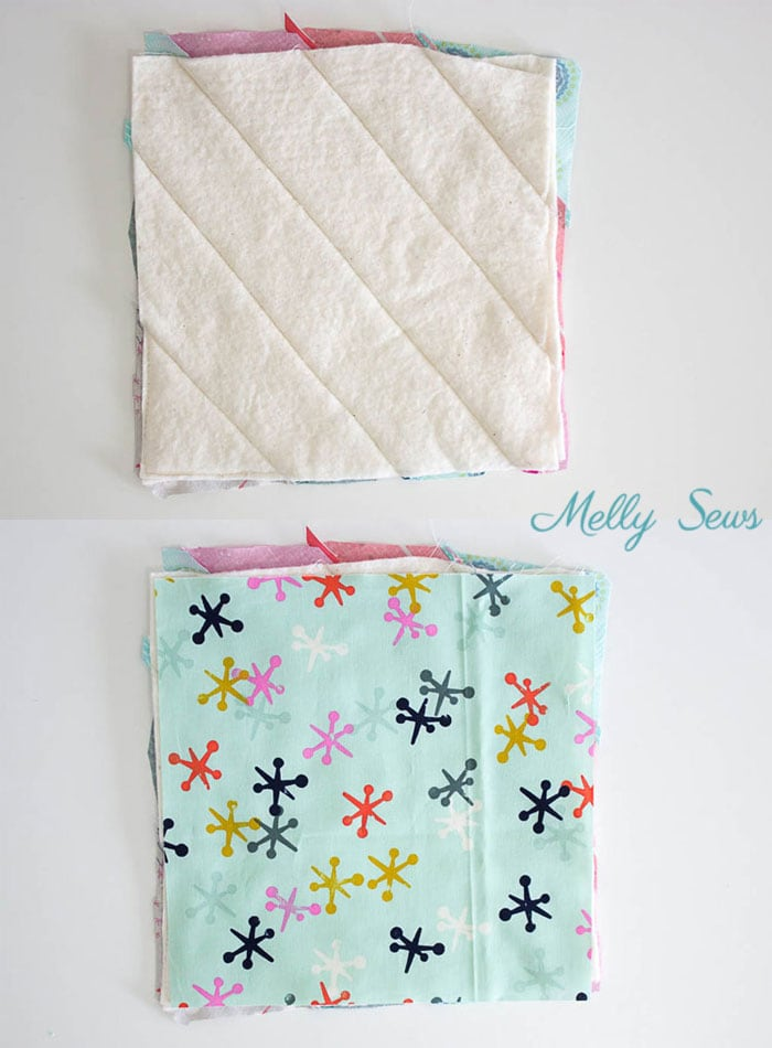 Step 5 - Sew a pot holder - quilt as you go - great scrapbuster - easy to make gift - DIY tutorial by Melly Sews