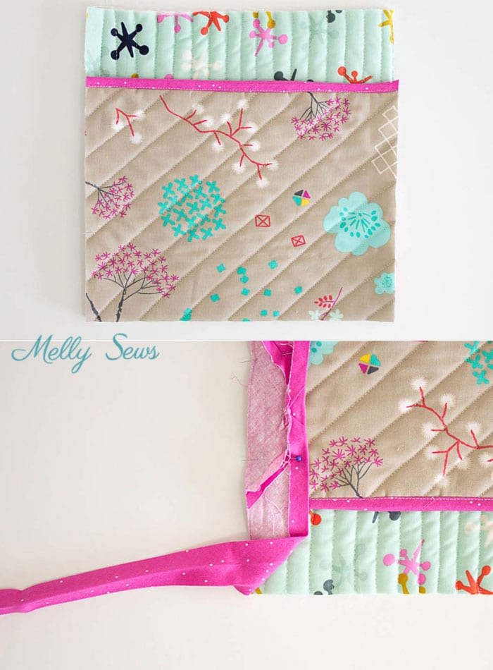 Step 7 - Sew a pot holder - quilt as you go - great scrapbuster - easy to make gift - DIY tutorial by Melly Sews