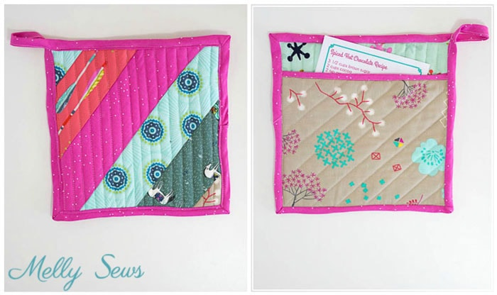 Front and back view - Sew a pot holder - quilt as you go - great scrapbuster - easy to make gift - DIY tutorial by Melly Sews
