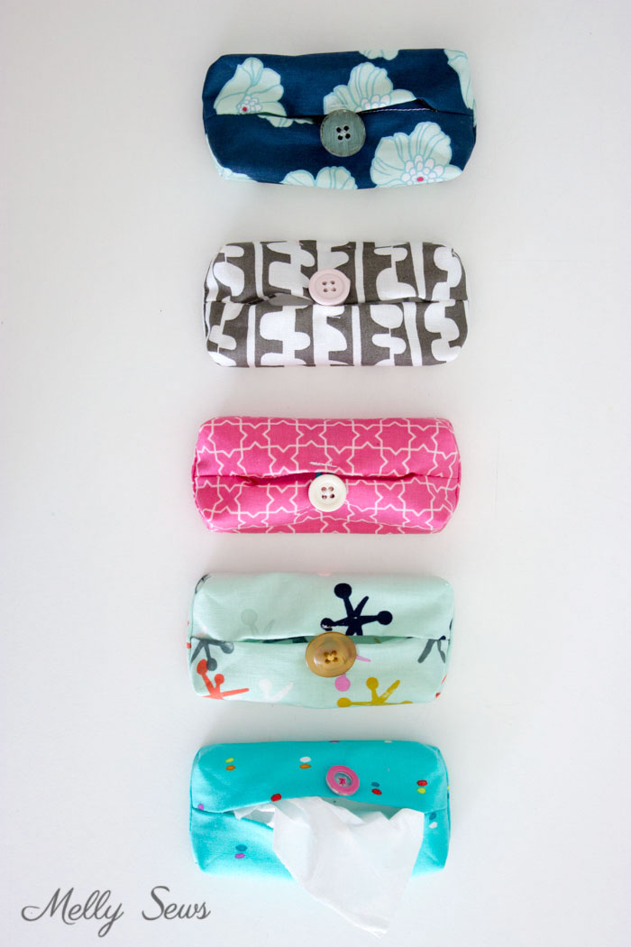 Scrap buster - Make a Travel Size Tissue Holder - Great gift for teachers, neighbors, family and co-workers - Video and Tutorial by Melly Sews