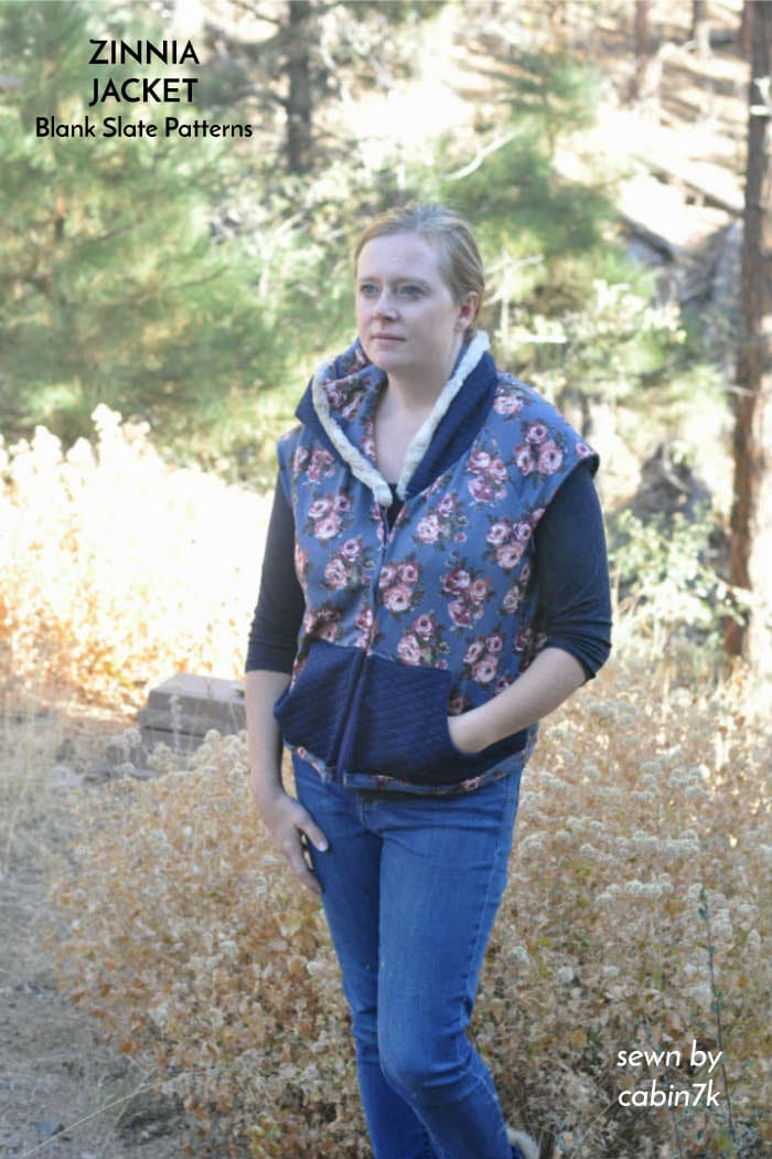 Zinnia Jacket vest hack | sewing pattern from Blank Slate Patterns | sewn by cabin7k