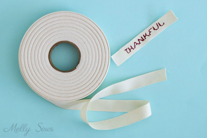 Embroider on Twill Tape - How to Make Clothing Labels - 3 Ways to Make Clothing Tags for Your Handmade Items - Melly Sews