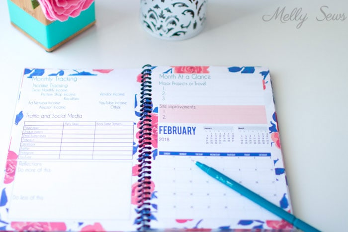 Inside - Printable blog planner - make your own DIY 2018 planner - Melly Sews