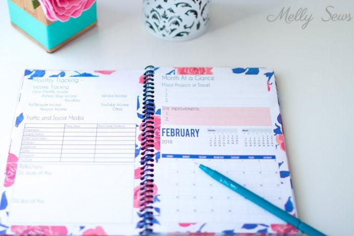 Inside - Printable blog planner - make your own DIY 2018 planner - Melly Sews