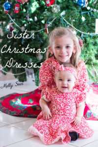 Sew matching Christmas Dresses for sisters - Melly Sews