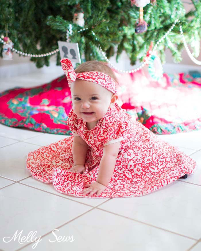 Baby Christmas Dress - Sew matching Christmas Dresses for sisters - Melly Sews