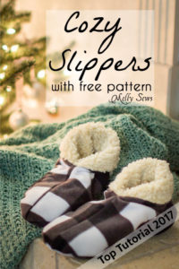 Top 5 Tutorials 2017 - Sew Cozy Slippers - from Melly Sews