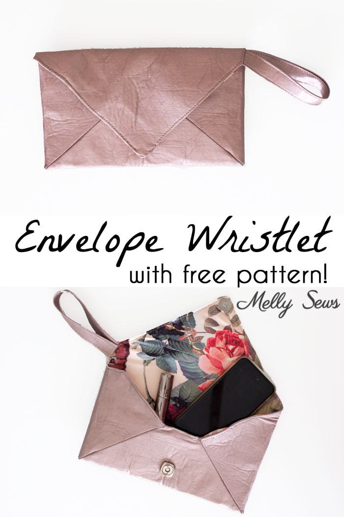 DIY Wristlet Tutorial - Make an Envelope Clutch Style bag with this free pattern from Melly Sews