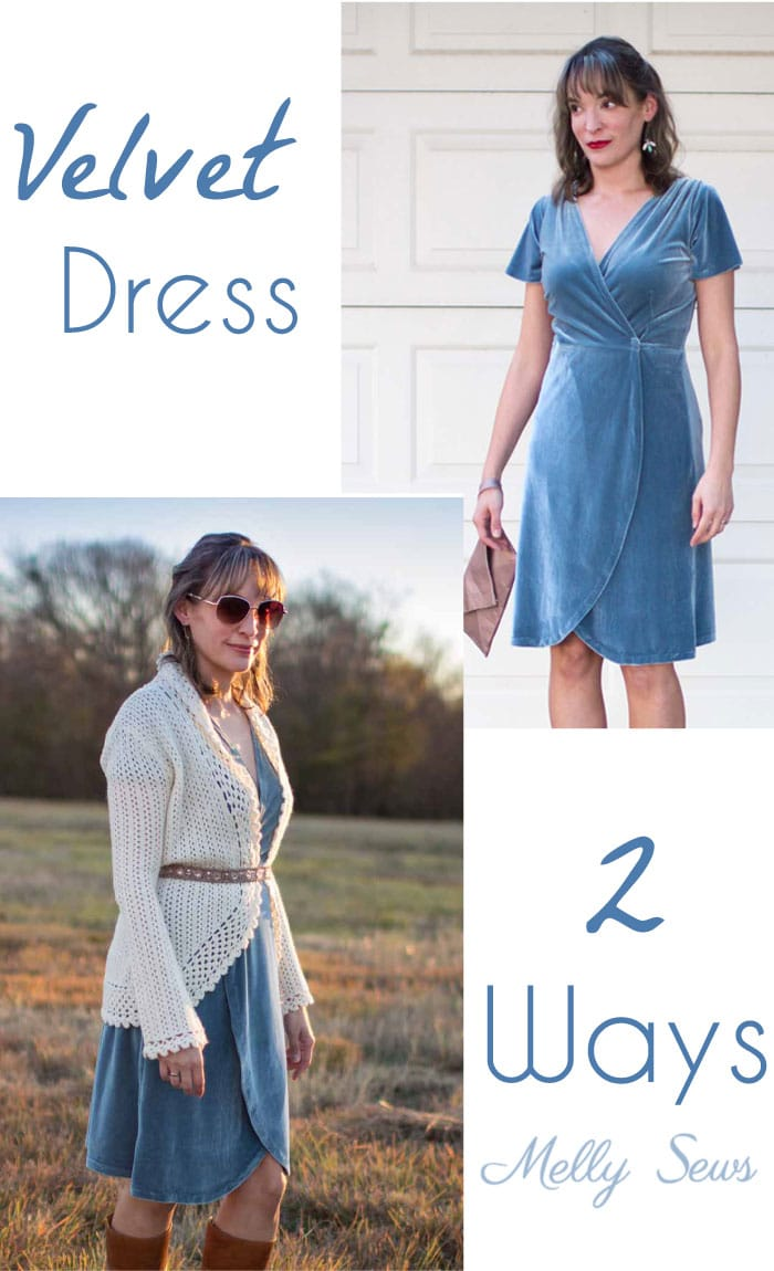 2 Ways to style a stretch velvet dress - handmade by Melly Sews