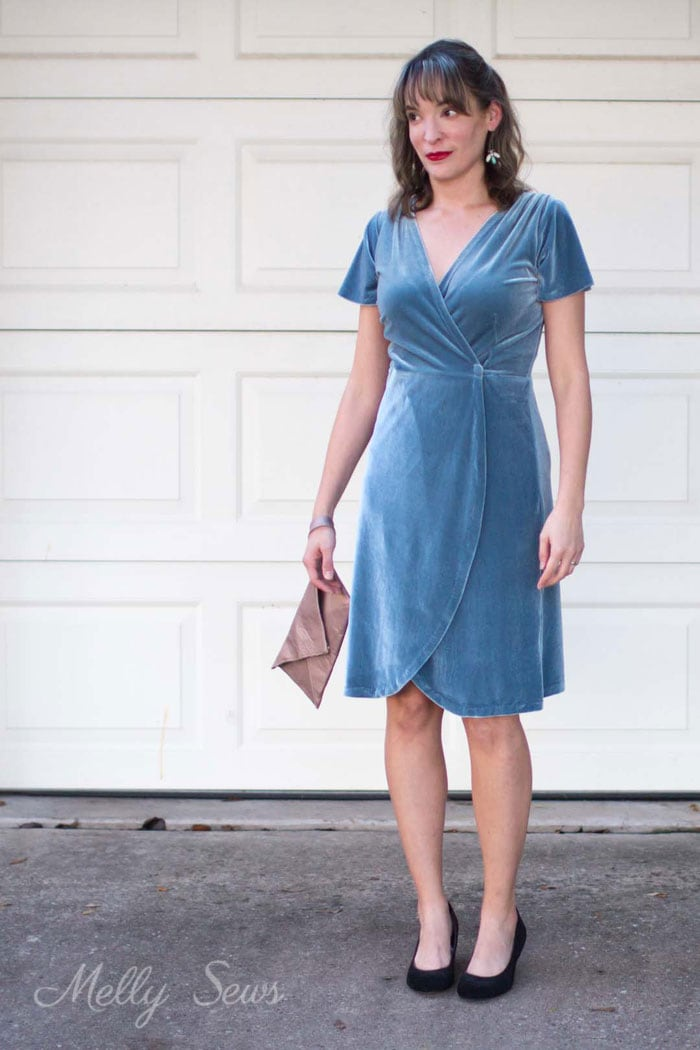 Holiday dress - 2 Ways to style a stretch velvet dress - handmade by Melly Sews