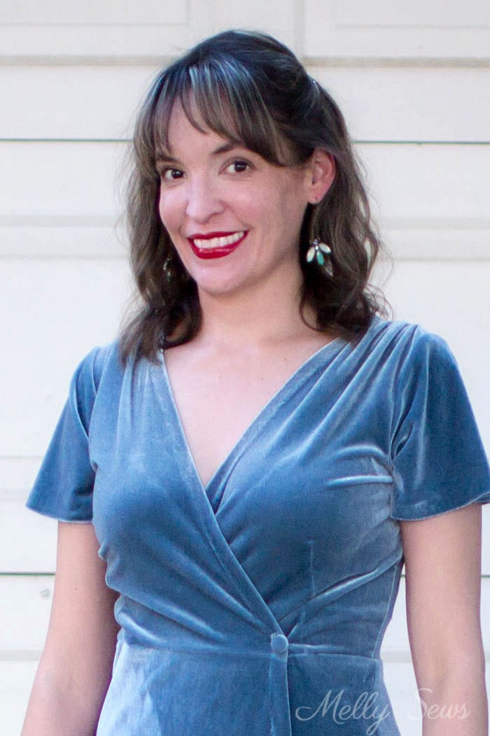 Red lipstick and velvet - classic New Year's Eve - 2 Ways to style a stretch velvet dress - handmade by Melly Sews
