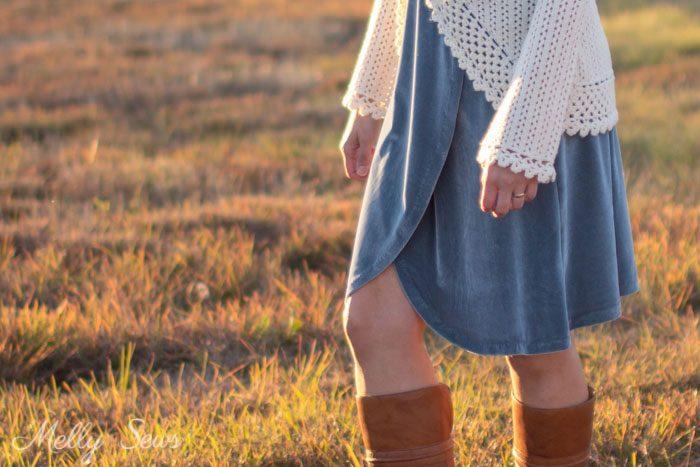 Wrap skirt - 2 Ways to style a stretch velvet dress - handmade by Melly Sews