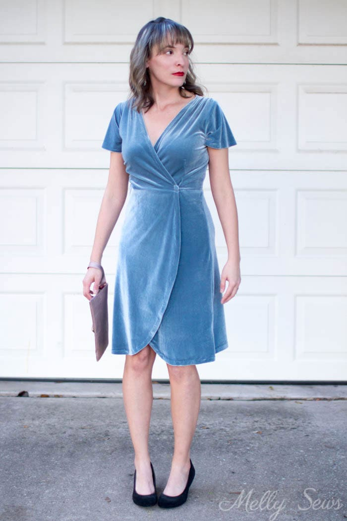 Velvet wrap dress - 2 Ways to style a stretch velvet dress - handmade by Melly Sews