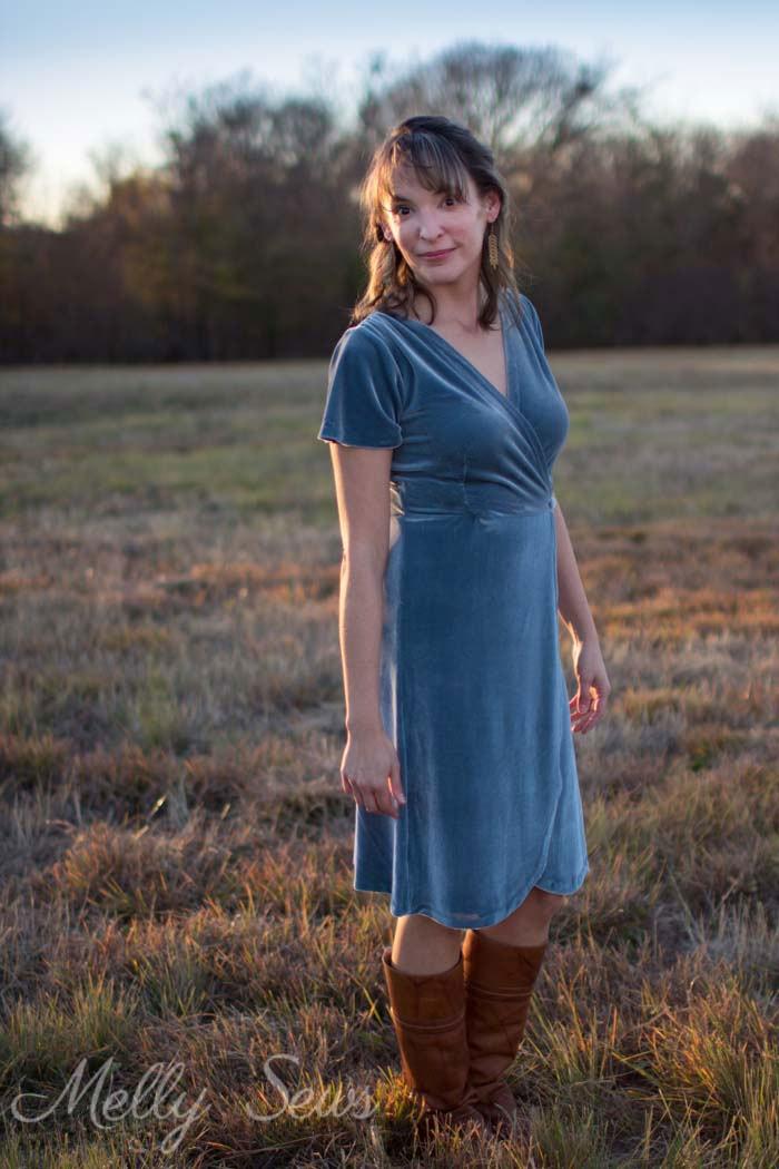 Wrap dress - 2 Ways to style a stretch velvet dress - handmade by Melly Sews