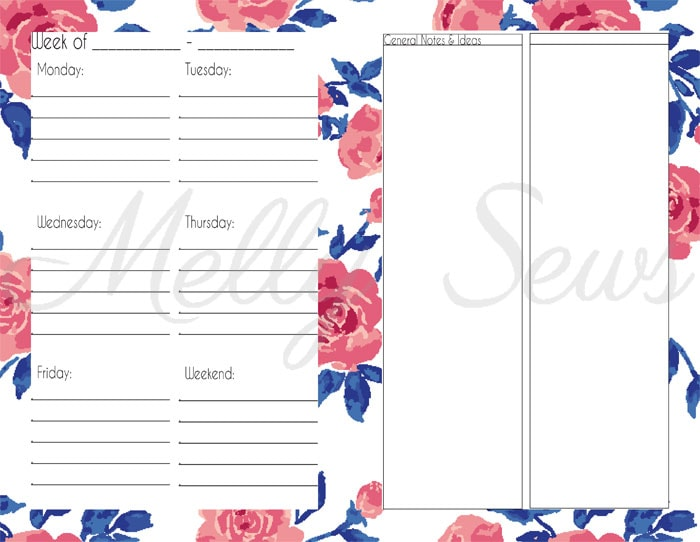Weekly pages - Printable blog planner - make your own DIY 2018 planner - Melly Sews