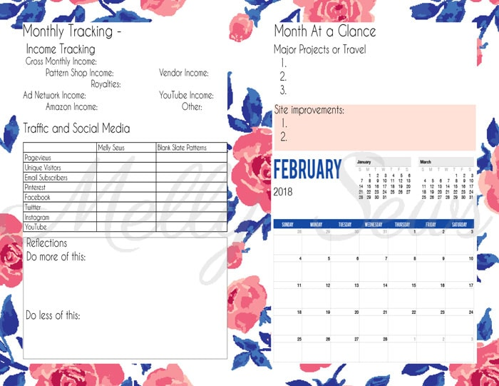 Monthly Overview - Printable blog planner - make your own DIY 2018 planner - Melly Sews
