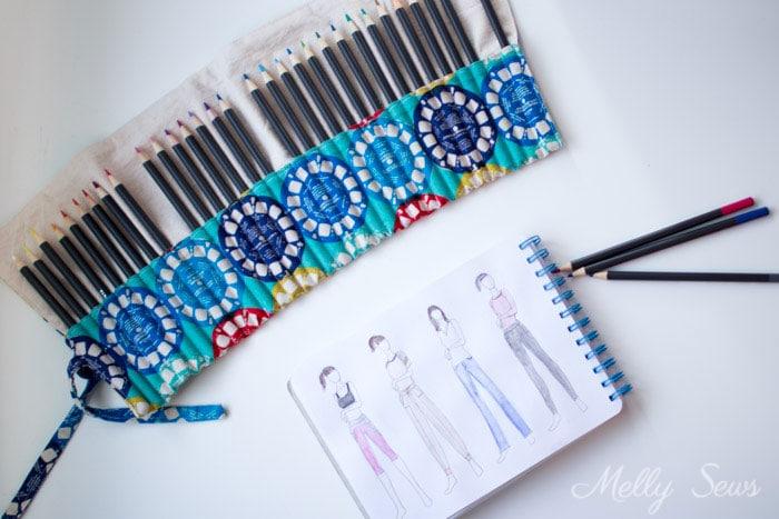 Sketching fashion - Sew a Pencil Roll - DIY Crayon Roll - Tutorial by Melly Sews