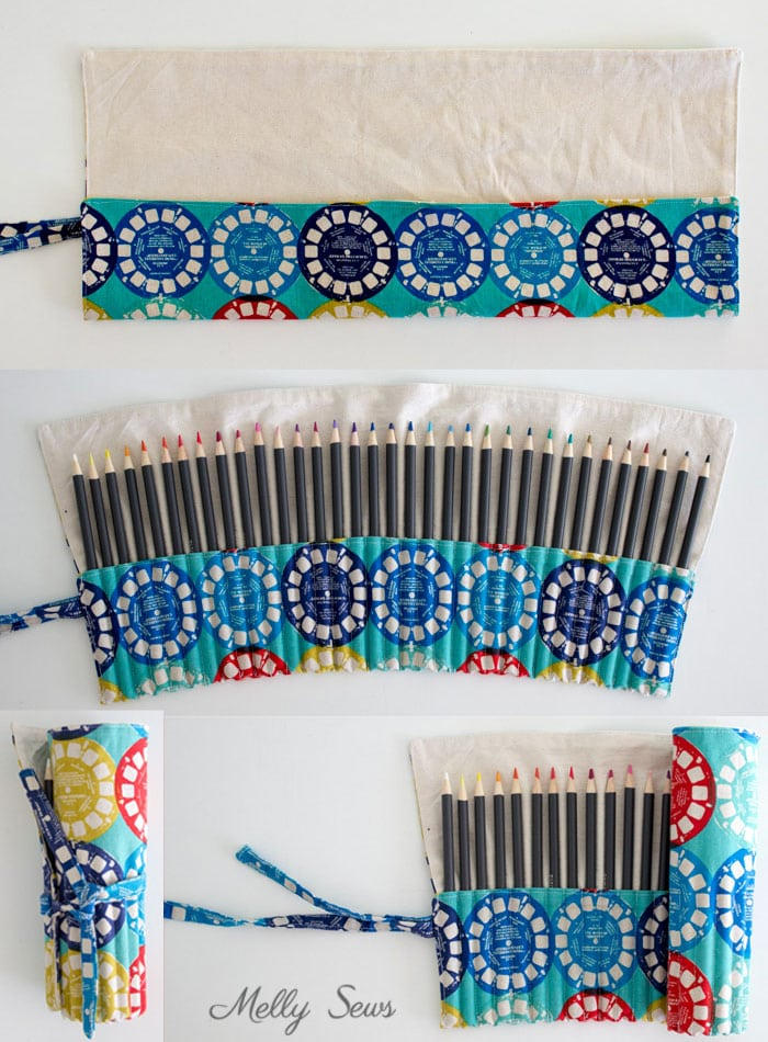 Step 3 - Sew a Pencil Roll - DIY Crayon Roll - Tutorial by Melly Sews