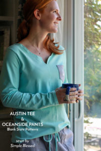Austin Tee and Oceanside Pants sewing patterns by Blank Slate, sewn by Simple.Blessed